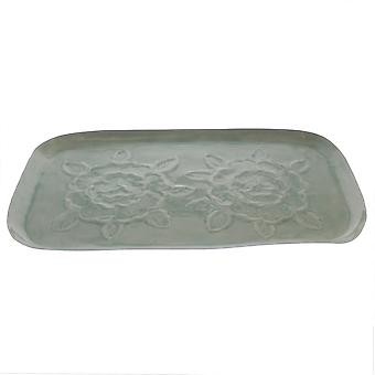 Jumbo Gray Floral Embossed Tray