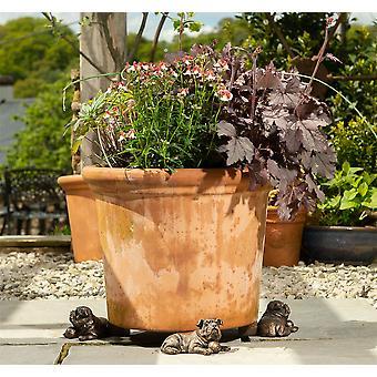 Potty fötter dekorativ vila engelska bulldog växtkruka fötter brons färg 3pc