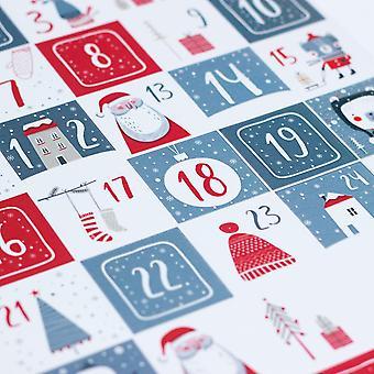 Scandi stil Advent hvit-rød og grå klistremerke ark med 35 klistremerker