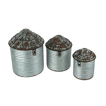 Vintage boerderij stijl gegalvaniseerde zink afwerking decoratieve tin silo canister set van 3