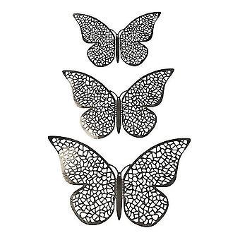 Papillons 3D 12pcs en métal, décoration murale-Maille d'argent