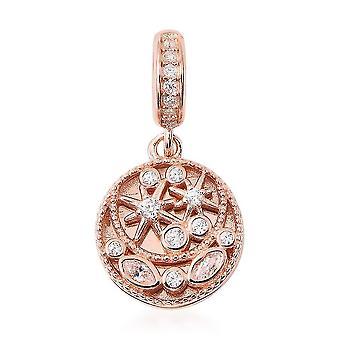 Charmes De Memoire simuliert Diamant Cluster Charme Rose vergoldet Silber Charme