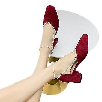 Retro Shoes Gentle Mid-heel Français Pearl Heels