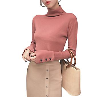 Femmes Haut Cou Slim Pull Manches Longues Pull Pull Pull Tricot Top