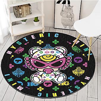 Kinder Cartoon Muster Schwarz Wohnzimmer Schlafzimmer Runder Teppich