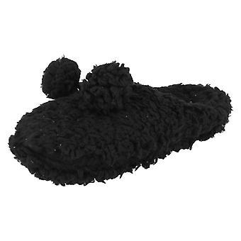 Ladies Eaze Fluffy Pom Pom Front Slippers X2047