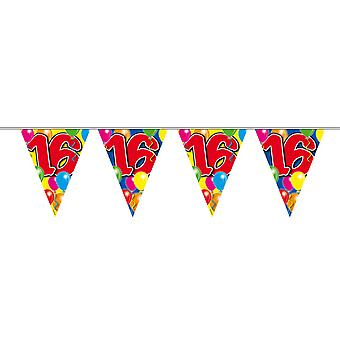 Pennant chain 10 m number 16 years birthday decoration party Garland