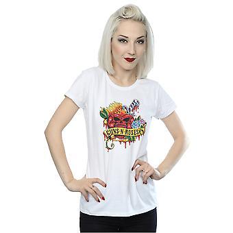 Guns N Roses Women's Heart Skull T-Shirt