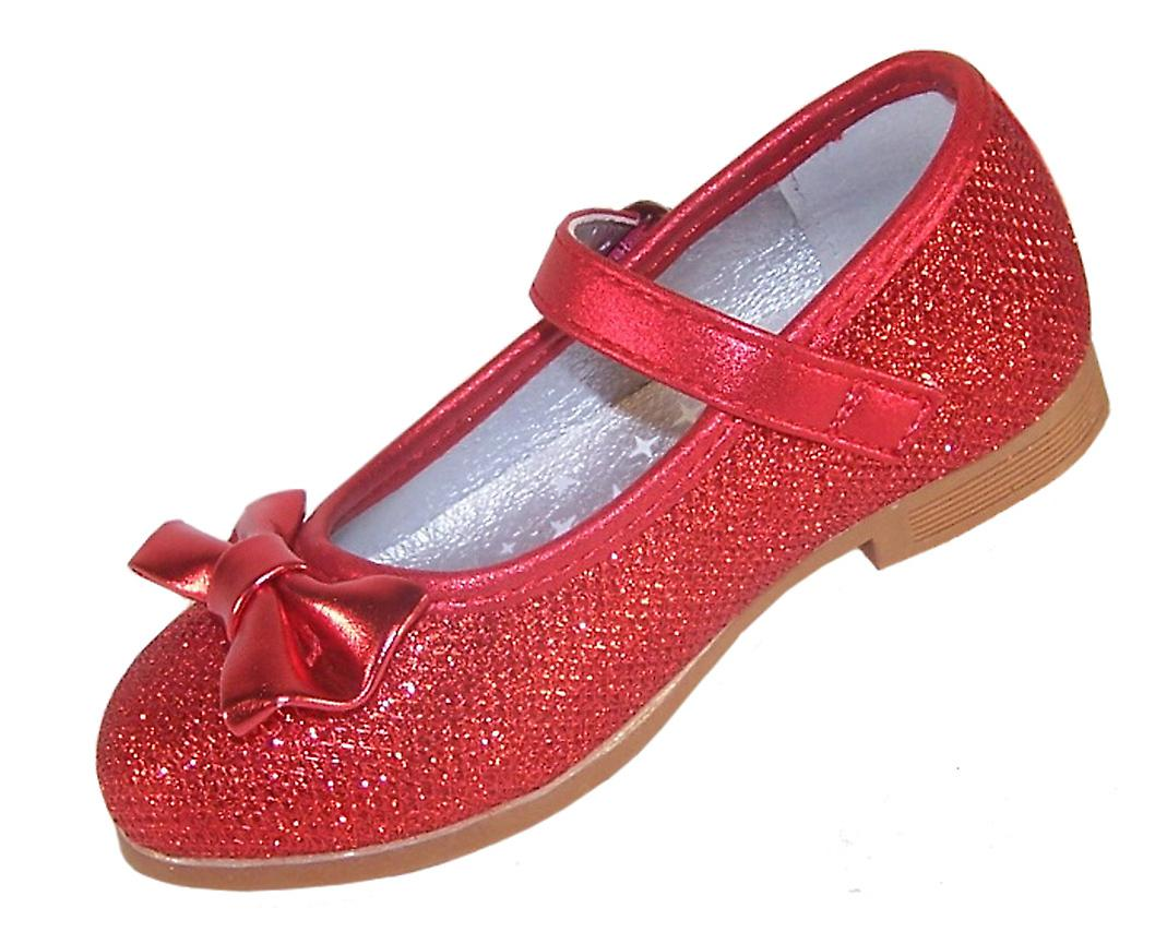 Infant girls red sparkly ballerina party shoes
