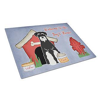 Dog House Collection Standard Schnauzer Salt and Pepper Glass Cutting Board Larg