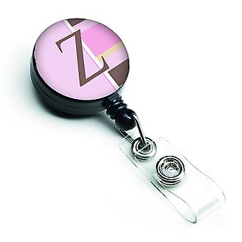 Letter Z Initial Monogram - Pink Stripes Retractable Badge Reel