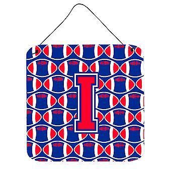 Letra I futebol Crimson de Harvard e Yale azul parede ou porta impressões de suspensão
