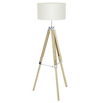 Eglo Lantada Lampa podłogowa nowoczesny naturalny statywu drewna z beżowa tkanina bęben cieniu