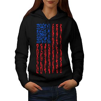 America Flag Grenade USA Women BlackHoodie | Wellcoda