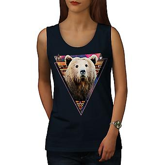 Bear Face Novelty Animal Women NavyTank Top | Wellcoda