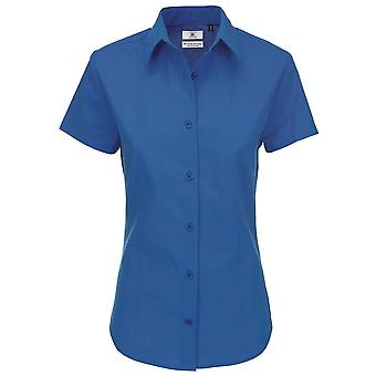 B&C Collection Heritage Short Sleeve Ladies Poplin Cotton Formal Work Shirt