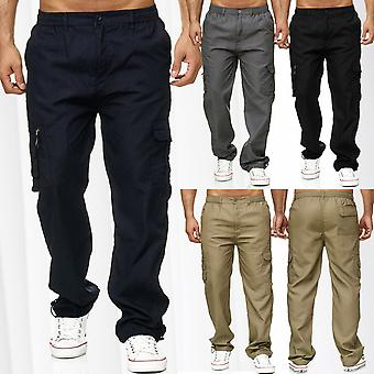Mens Cargo Trousers Casual Long Summer Pants with Pockets Stretch Waistband