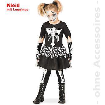 Skelett Kostüm Skullkleid Totenkopf Kinder Gerippe Halloween Kinderkostüm