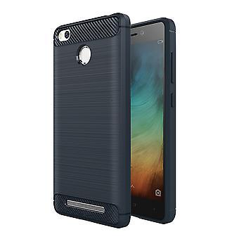 Xiaomi Redmi 3s TPU case carbon fiber optics brushed protective case Blue
