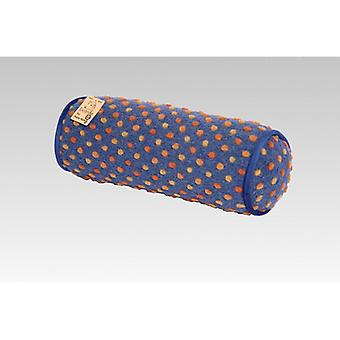 Neck roll Poduszka kolor niebieski barwione wełny 42 x 14 cm
