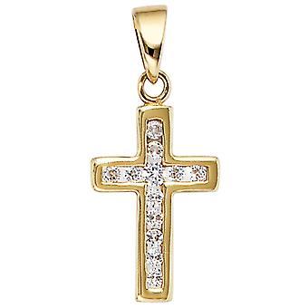 Золотой крест стразами Кулон крест 333 золото желтое золото 12 кубического циркония