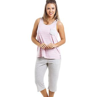 Camille harmaan ja vaaleanpunaisen raidallinen rajattu Pyjama setti