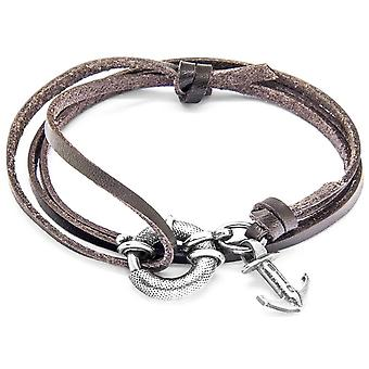Anchor and Crew Clyde Silver and Leather Bracelet - Dark Brown