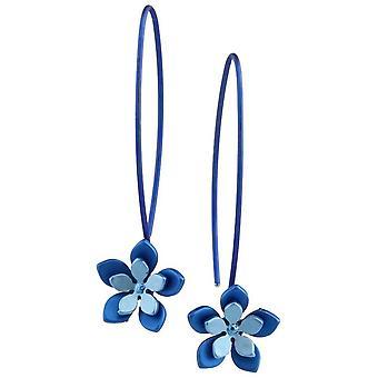 TI2 titanio doppia cinque petalo fiore orecchini - blu