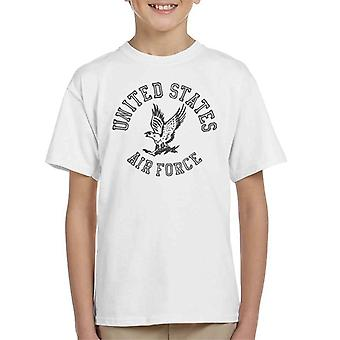 US Airforce Eagle Black Text Kid's T-Shirt