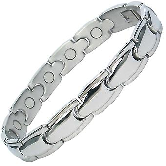 MPS® ALHAMBRA Classic Stainless Steel Magnetic Bracelet with Fold-Over Clasp + Free Gift Wallet + Free RESIZING TOOL