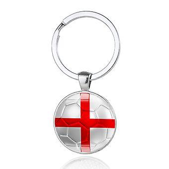 TRIXES St George biały i czerwony krzyż metalowy Brelok okrągły