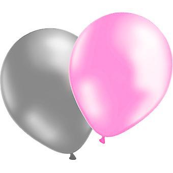 Balloons 12-pack Silver/pale pink Metallic