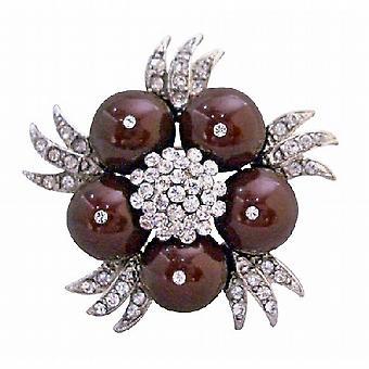 Meroon 真珠のおしゃれなデザインの結婚式パーティーのブローチ