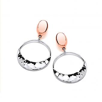 Cavendish French Sterling Silver and Copper Smile Drop Earrings