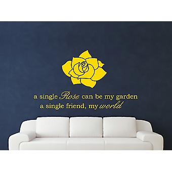 A Single Rose Wall Art Sticker - Dark Yellow