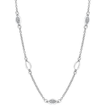Bella Alternate Oval Link Cubic Zirconia Necklace - Silver
