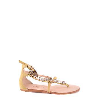 Sandálias de camurça amarela ezbc060076