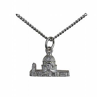 Silber 11x17mm hohl St. Pauls Kathedrale Anhänger mit einer Kandare Kette 24 Zoll