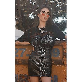 IKRUSH Womens Kelli Wet Look Ring Zipped Skirt