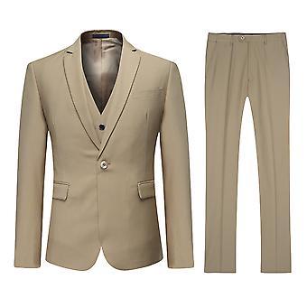Allthemen Men's Khaki One-Button Korean Version Slim Suit 3-Piece Suit