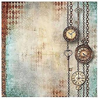 Stamperia Rice Paper Napkins Clockwise Chains with Clock & Keys (DFT338)