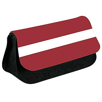 Latvia Flag Printed Design Pencil Case for Stationary/Cosmetic - 0094 (Black) by i-Tronixs