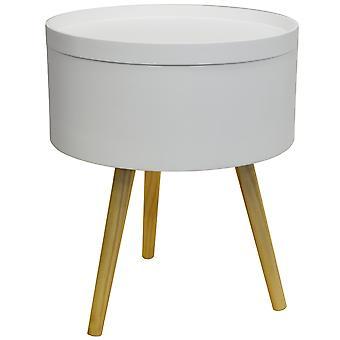 Trommel - Retro-Holz Tablett Top Beistelltisch / Nachttisch Tisch - weiß / Natur