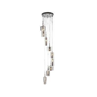 Zoeklicht linnen 9 lichte Chrome multi-drop hanger met geribbeld glas schaduw