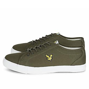 Lyle And Scott Teviot Canvas Plimsoll Trainers  Olive Twill