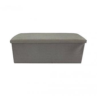 Meubilair Rebecca Puff licht grijs poef container vouwen stof 38x110x38