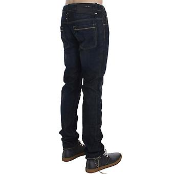 Blå vask bomull denim slim fit jeans