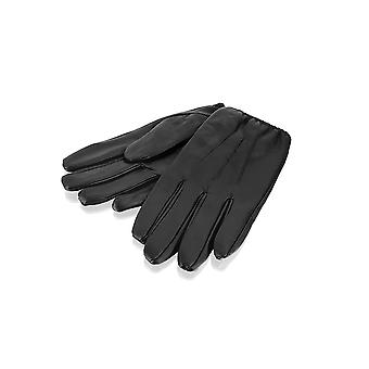 Mens Black Elasticated Driving Glove Leather Gloves