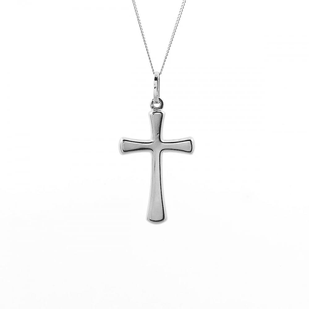 Eternity 9ct White Gold Plain Cross Pendant And 18'' Curb Chain