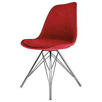 Fusion Living Eiffel Inspiré Red Fabric Dining Chair with Chrome Metal Legs